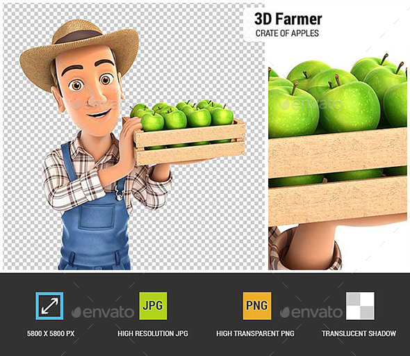 3D Farmer Holding Crate of Apples - Characters 3D Renders