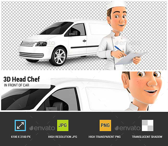 3D Head Chef with Notepad in Front of Car - Characters 3D Renders