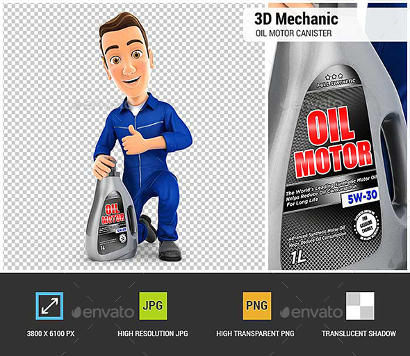 3D Mechanic with Oil Motor Canister and Thumb Up - Characters 3D Renders