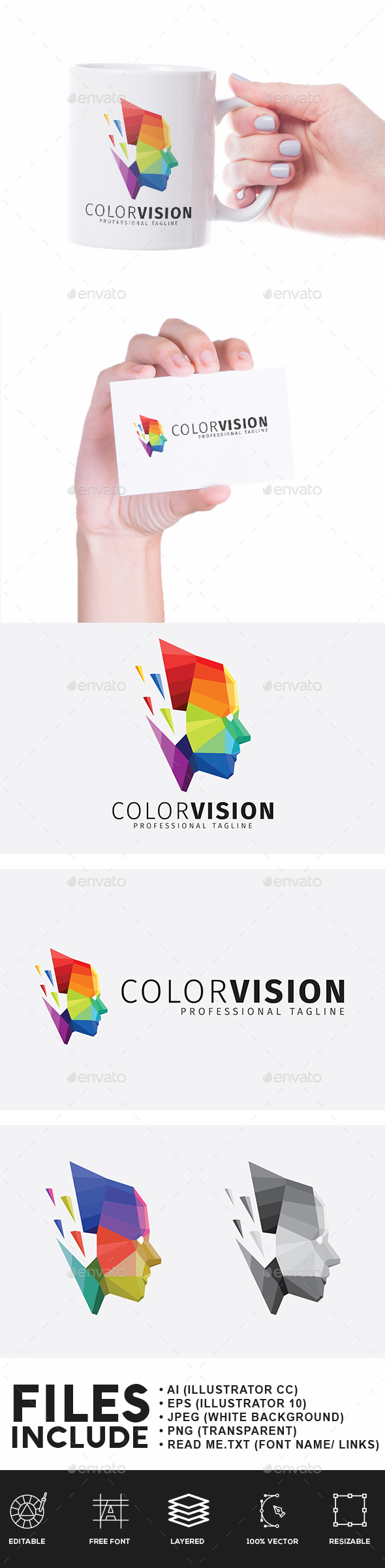 Color Vision Low Poly Logo - Humans Logo Templates