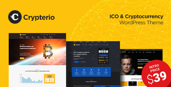 ThemeForest Crypterio Bitcoin and Cryptocurrency WordPress Theme 21274387