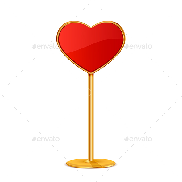 Red Valentines Sign in the Form of Heart - Valentines Seasons/Holidays