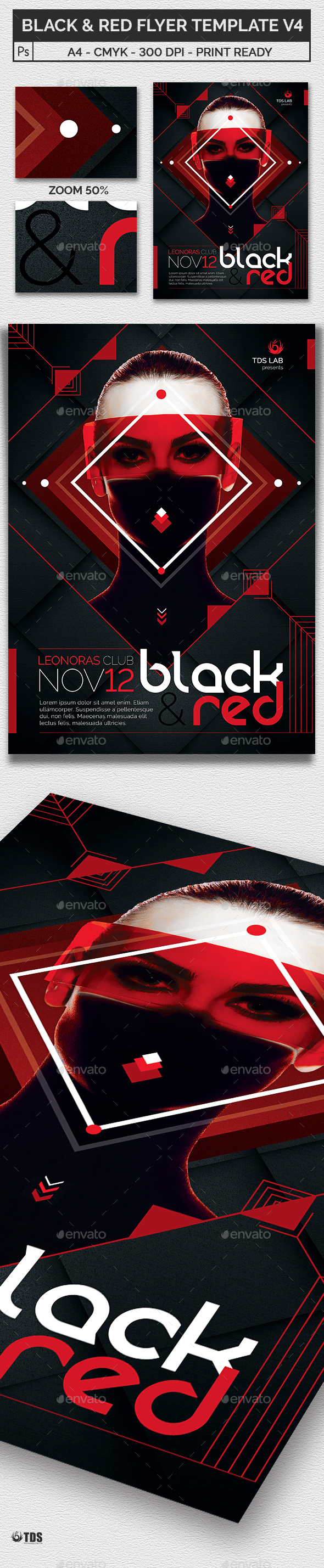 Black and Red Flyer Template V4 - Clubs & Parties Events