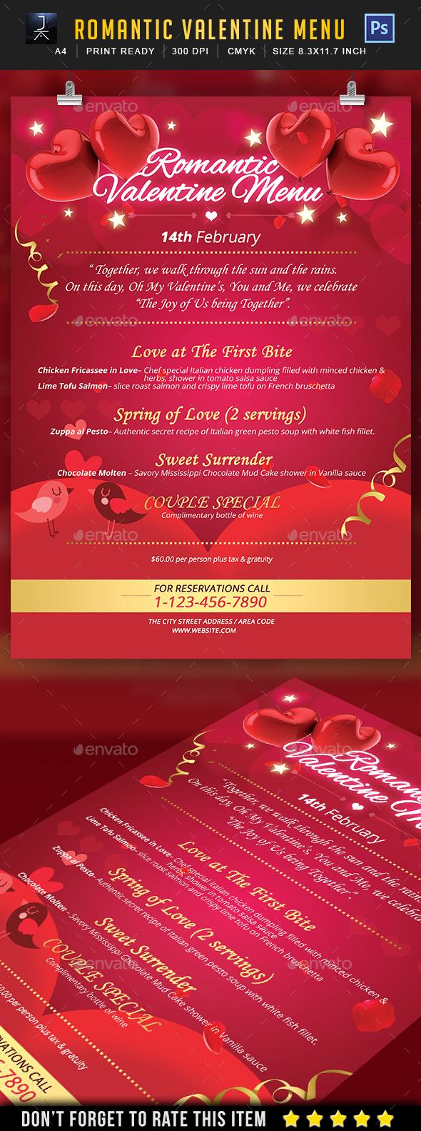 Romantic Valentine Menu - Print Templates