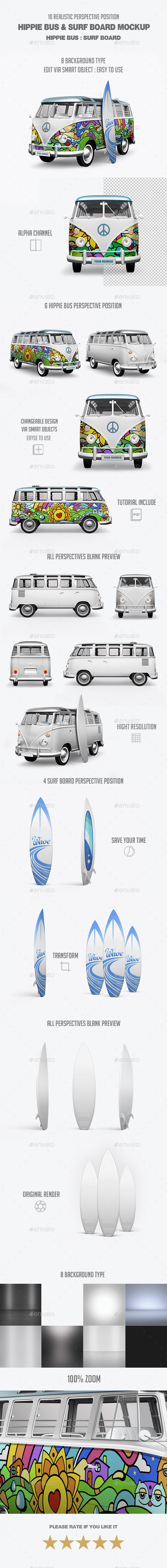 Hippie Bus & Surf Board Mock-Up - Vehicle Wraps Print