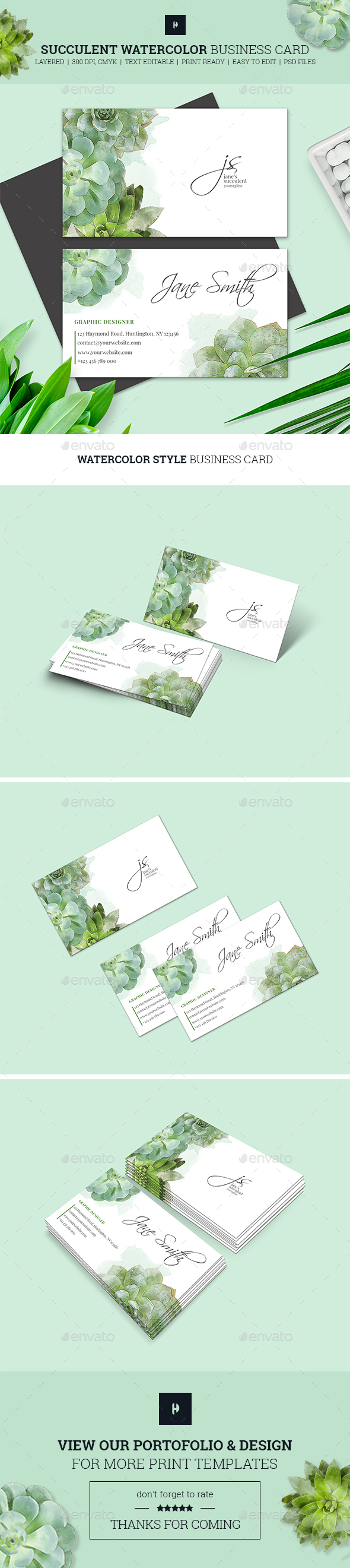 Succulent Watercolor Business Card 02 - Business Cards Print Templates