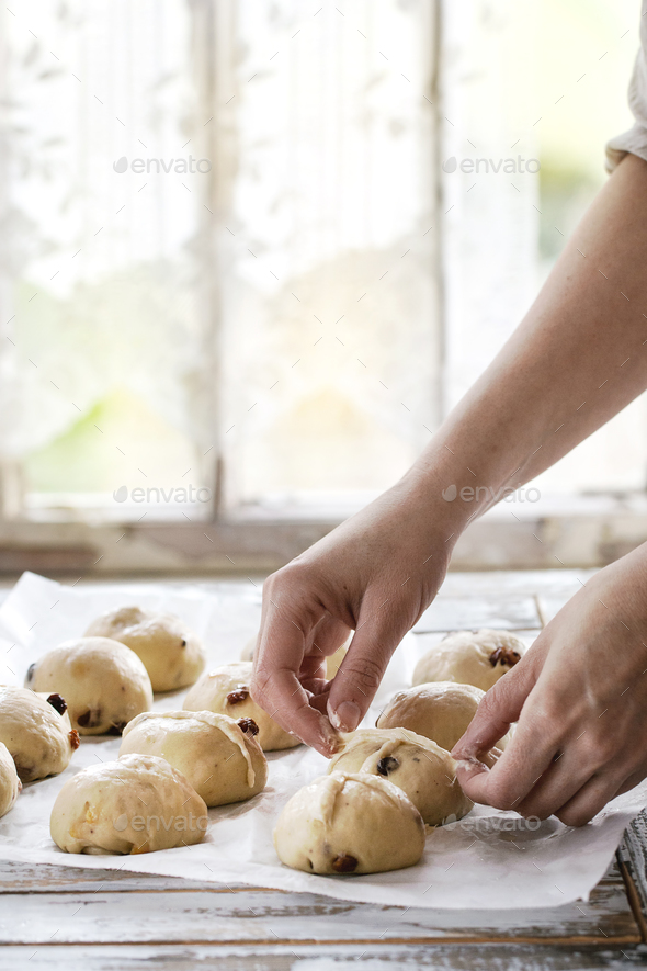 Raw unbaked buns - Stock Photo - Images