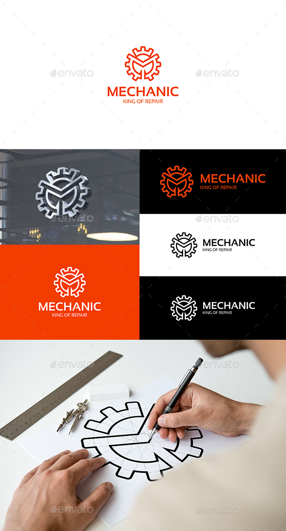 Mechanic Gear M Logo - Symbols Logo Templates