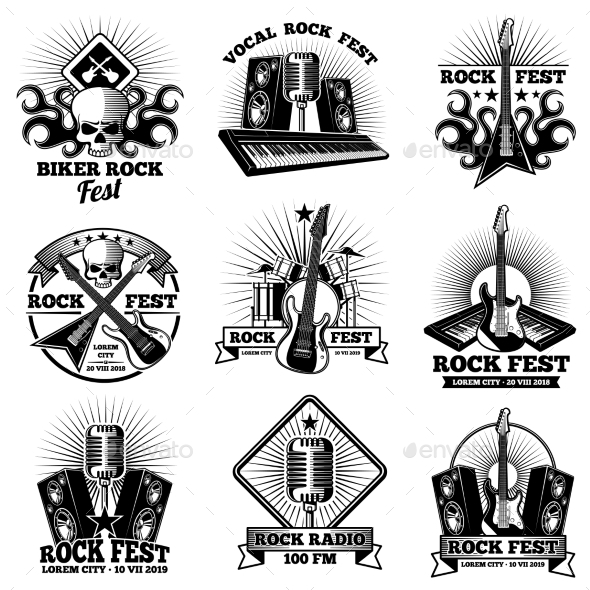 Retro Rock n Roll Band Labels - Decorative Symbols Decorative