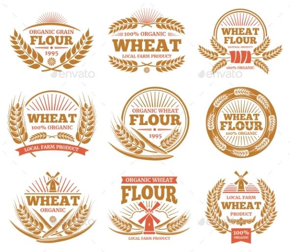Wheat Grain Product and Bread Vector Labels - Decorative Symbols Decorative