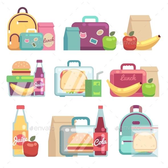 School Snack Bags - Food Objects