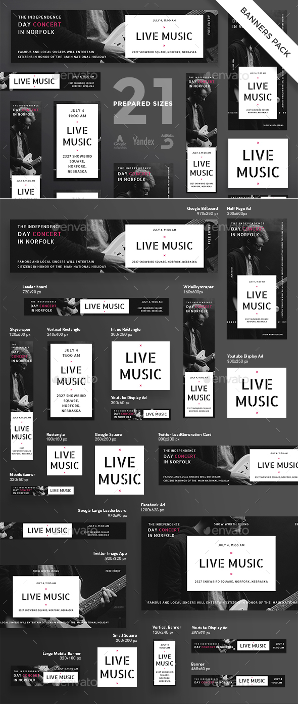Live Music Banner Pack - Banners & Ads Web Elements