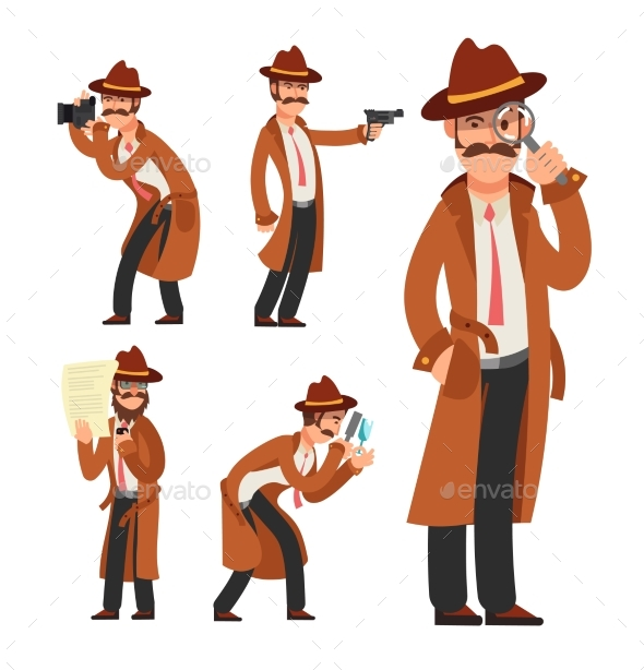 Cartoon Private Detective - People Characters