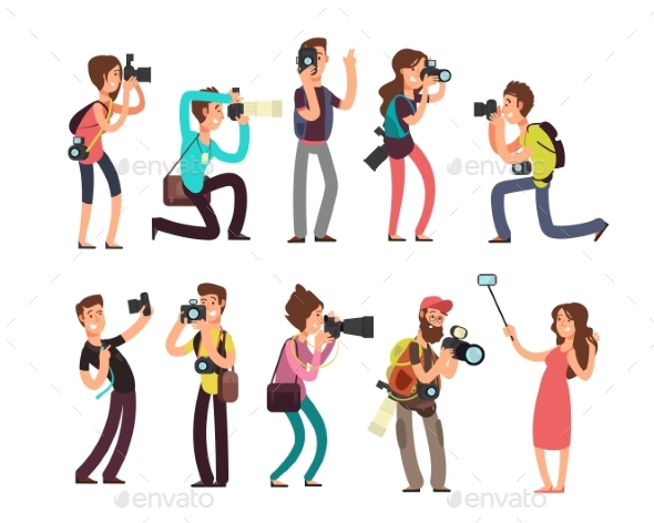 Professional Photographers with Camera - People Characters