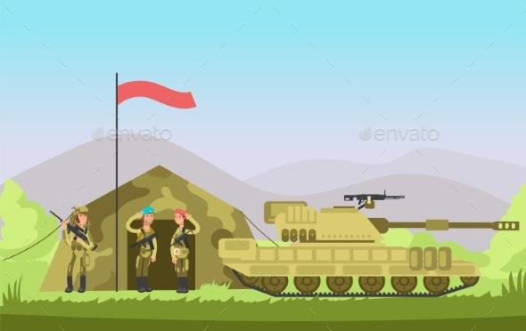 Us Army Soldier with Gun in Uniform. Cartoon - Miscellaneous Vectors