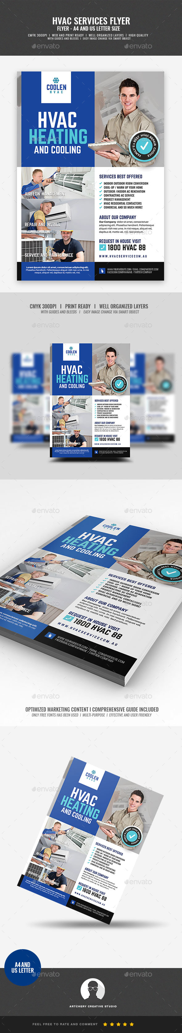 Heating and Cooling Service Company Flyer - Corporate Flyers