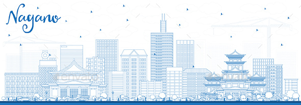 Outline Nagano Japan City Skyline with Blue Buildings. - Buildings Objects