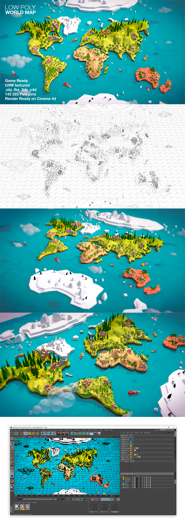 Cartoon Low Poly Earth World Map - 3DOcean Item for Sale