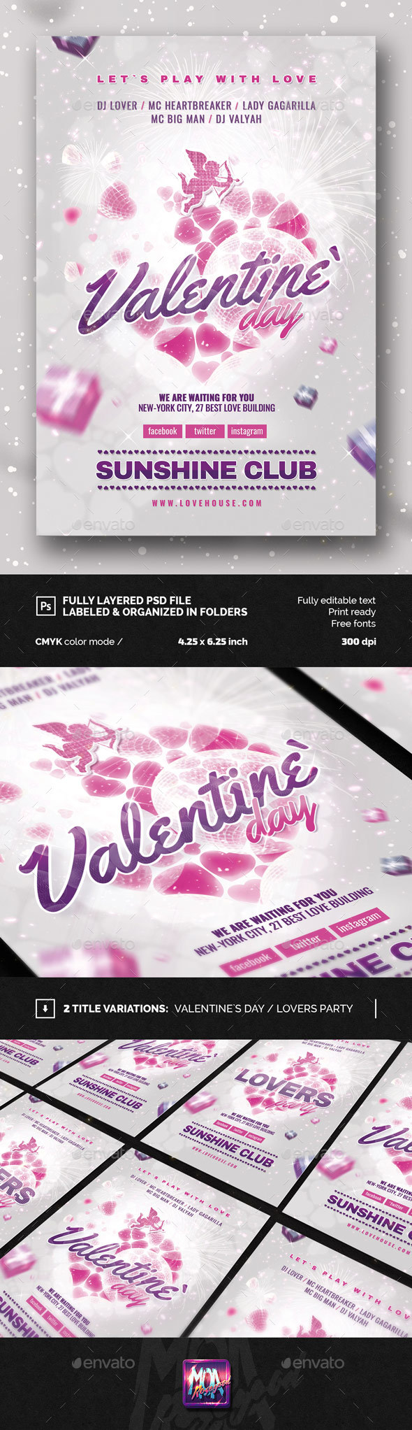 Valentine`s day, Lovers Party Flyer - Events Flyers