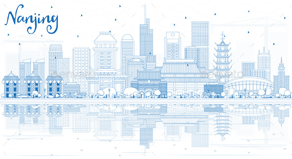 Outline Nanjing China City Skyline with Blue Buildings and Reflections - Buildings Objects