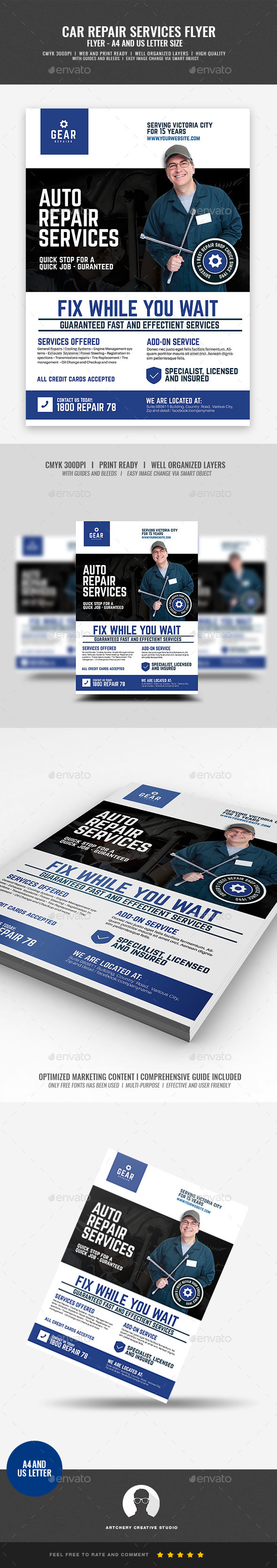 Auto and Car Repair Center Flyer - Corporate Flyers