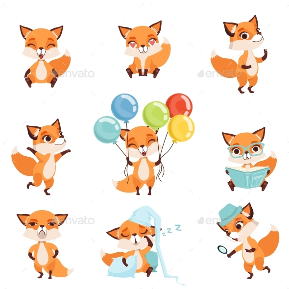 Red Foxes Showing Various Emotions - Animals Characters