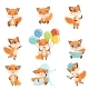 Red Foxes Showing Various Emotions