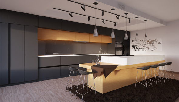 Modern Kitchen Anthracite Grey By VisuArch DOcean - Anthracite grey kitchen