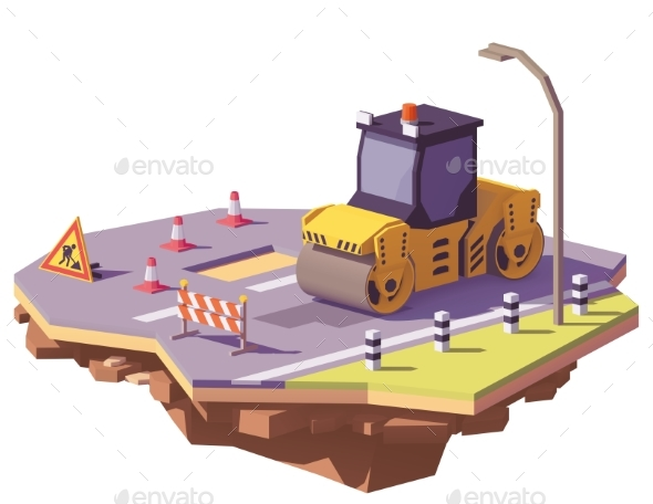 Vector Low Poly Road Roller - Man-made Objects Objects
