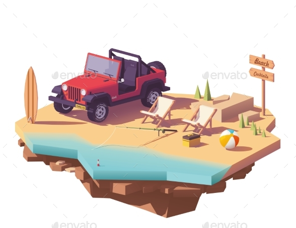 Vector Low Poly Off-Road Vehicle on the Beach - Man-made Objects Objects
