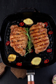 Grilled pork steak in grill pan - PhotoDune Item for Sale