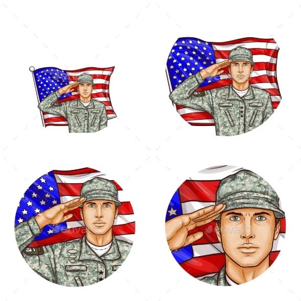 Vector Us Flag Salute Soldier Pop Art Avatar Icon - Miscellaneous Vectors