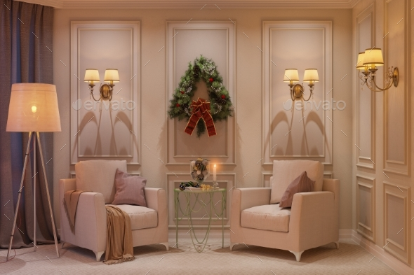 3d Illustration of a Christmas Interior - Architecture 3D Renders