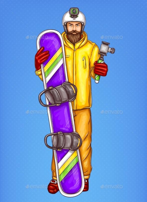 Pop Art Snowboarder Man Vector Sketch Illustration - People Characters