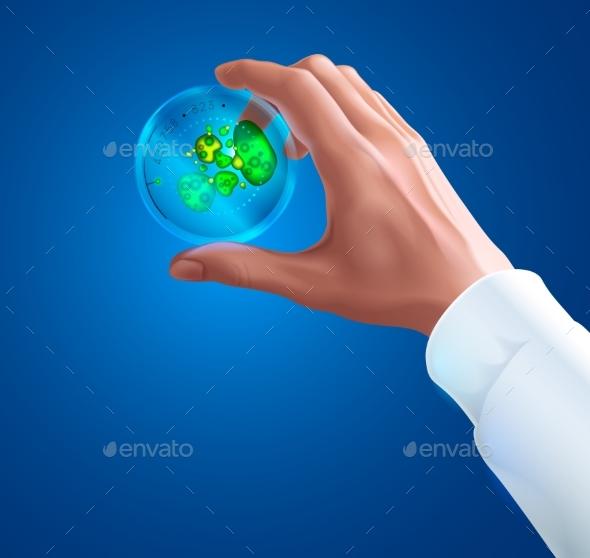 Hand of a Scientist in White Coat Holding Petri Dish - Health/Medicine Conceptual