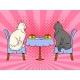 Cats on Date in Cat Restaurant Pop Art Vector
