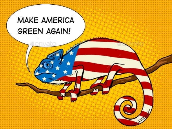 Chameleon Colored in American Flag Pop Art Vector - Animals Characters