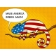 Chameleon Colored in American Flag Pop Art Vector
