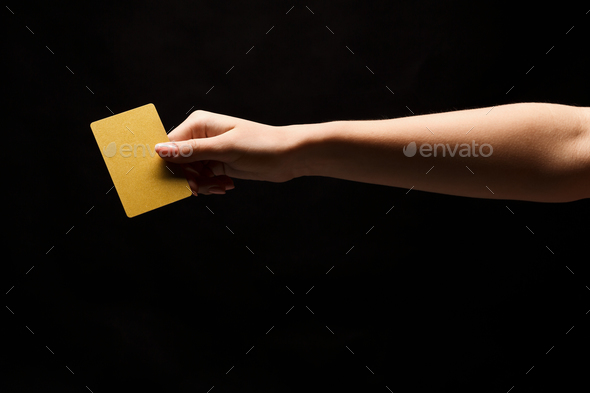 Closeup of female hand holding blank plastic card - Stock Photo - Images