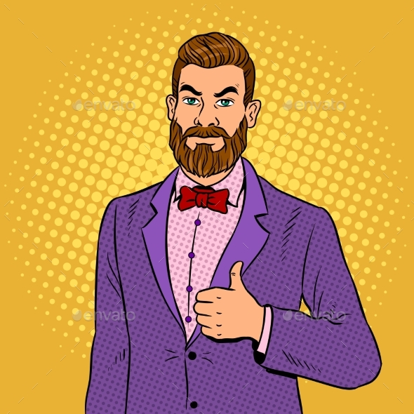 Man with Beard Thumbs Up Pop Art Vector - People Characters