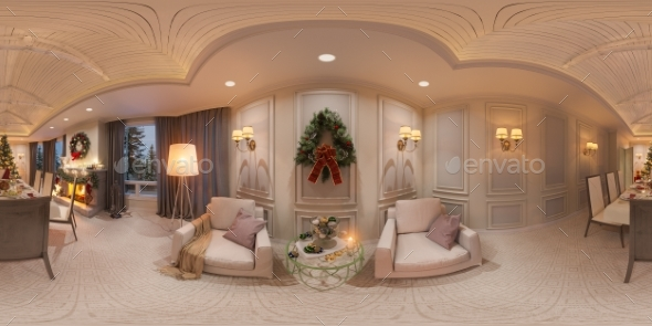 Christmas Interior with a Fireplace. 3d - Architecture 3D Renders