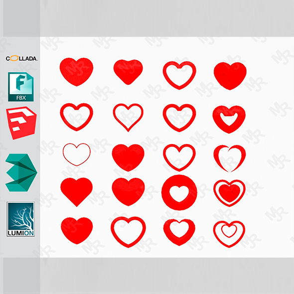 3D Hearts Pack - 3DOcean Item for Sale