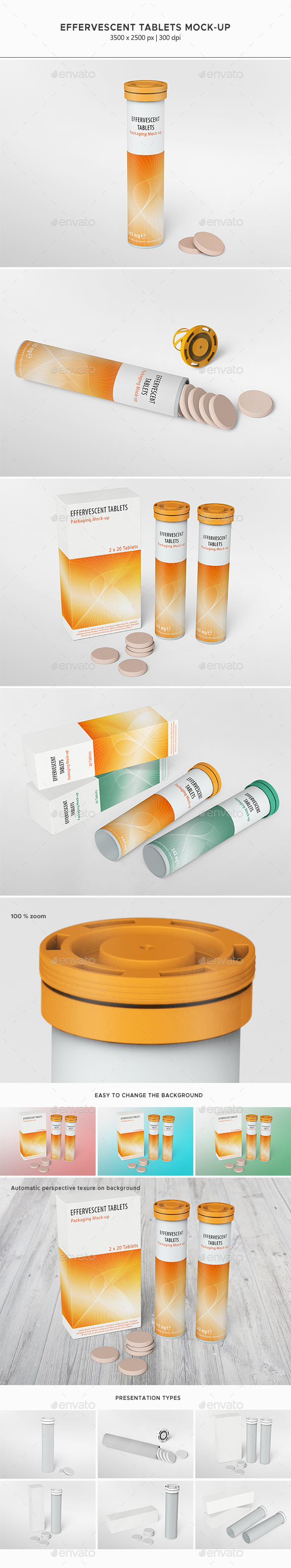 Effervescent Tablets Mock-up - Food and Drink Packaging
