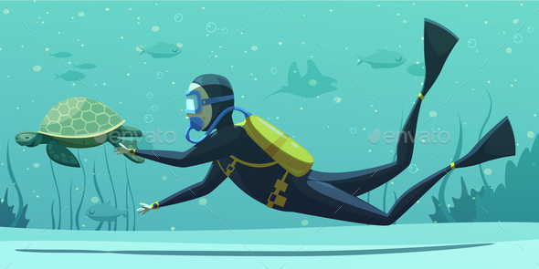 Underwater Diving Sport Cartoon Poster - Sports/Activity Conceptual