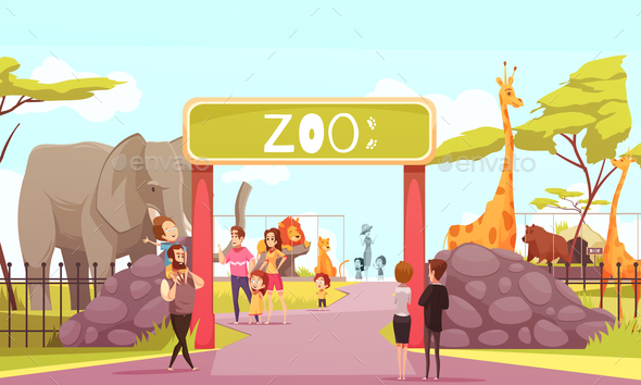 Zoo Entrance Gate Cartoon Illustration - Animals Characters
