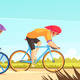 Cycle Competitive Racing Cartoon Illustration