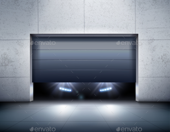 Garage And Car Realistic Background - Miscellaneous Vectors