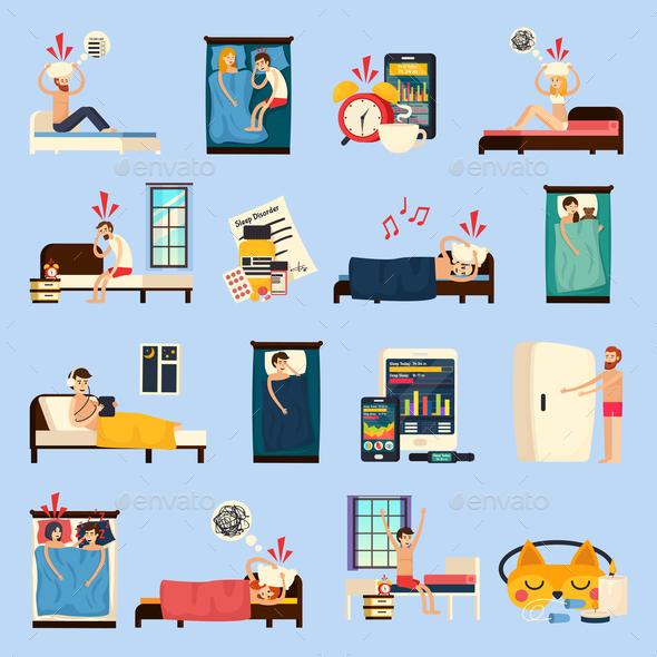 Sleep Disorder Orthogonal Flat Icons - People Characters