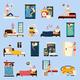 Sleep Disorder Orthogonal Flat Icons