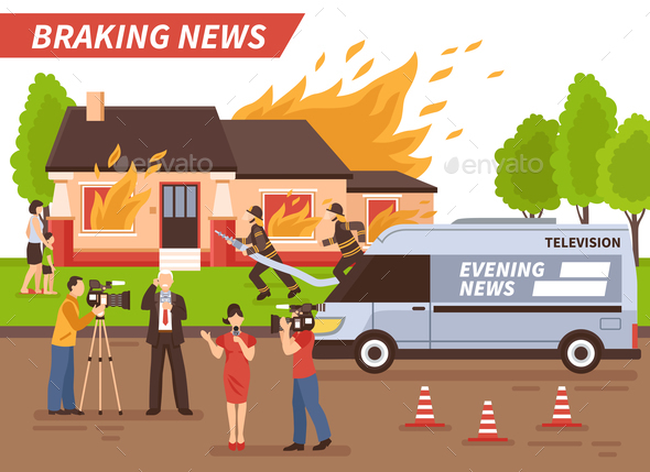 Breaking News Illustration - Buildings Objects